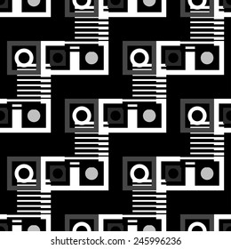 Abstract geometric seamless pattern in black and white. Modern monochrome background texture