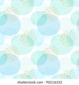 Abstract geometric seamless pattern with circles and gold glitter elements. Modern abstract design for paper, cover, fabric, interior decor and other users. Ideal for baby boy design.