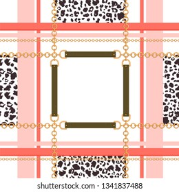 Abstract geometric seamless pattern with golden chains, belts and leopard skin. Colorful fashion print for textile, scarf, silk shawls and cravat design. Vector illustration on white background.