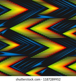 Abstract geometric seamless pattern. Graphic vector. Racing background for vinyl wrap and decal. Grunge, neon texture pattern.