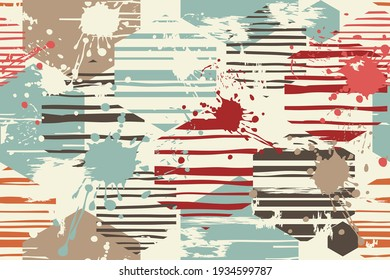 Abstract geometric seamless pattern from hexagons with blots and an effect of attrition  in retro colors. Vector shabby geometric carpet. Background for ceramic tile, wallpaper, linoleum, textile, rug