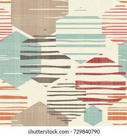 Abstract geometric seamless pattern with hexagons in retro colors. Texture background. Endless vintage pattern can be used for ceramic tile, wallpaper, linoleum, textile, web page background