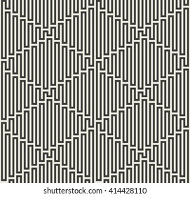 Abstract geometric seamless pattern. Monochrome repeating background with wavy lines. Vector illustration