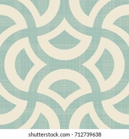Abstract  geometric seamless pattern on texture background in turquoise and beige. Endless pattern can be used for ceramic tile, wallpaper, linoleum, textile, web page background. Vector.