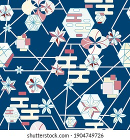 Abstract geometric seamless pattern, shapes and stylized flowers on a blue background. Linear pattern