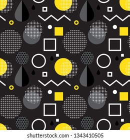 Abstract geometric seamless pattern with simple shapes such as circle, square, points and lin