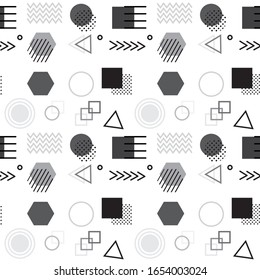 Abstract geometric seamless pattern with simple shapes such as circle, square, points and lines