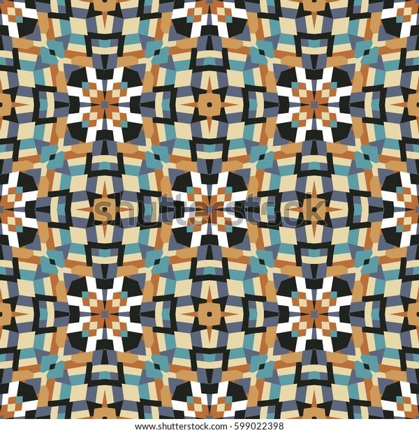 Abstract geometric seamless pattern, tile design, kaleidoscope illustration, vector