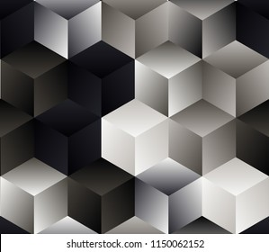 abstract geometric seamless pattern with translucent cubes in silver tones