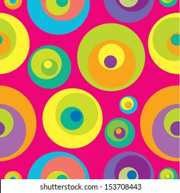 Abstract geometric seamless pattern with varicolored circles. Vector illustration.
