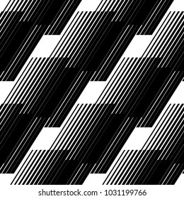 Abstract geometric seamless pattern with vertical fading lines, tracks, halftone stripes/ Extreme sport style illustration/ Trendy black and white minimal background texture/Stock vector/