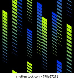 Abstract geometric seamless pattern with vertical gradient fading lines, tracks, halftone stripes. Extreme sport style texture, urban art. Trendy background in bright neon colors, green, blue, black