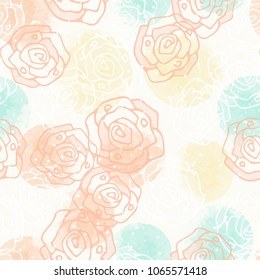 Abstract geometric seamless pattern with watercolor yellow, orange, mint circles, dots and  roses. Modern abstract design for paper, cover, fabric, interior decor and other users.