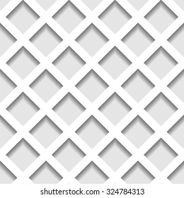 Abstract geometric seamless pattern - white diagonal cage (rhombus hole)