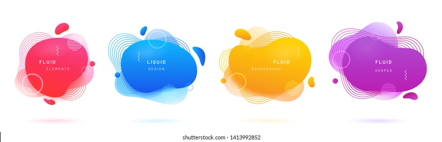 Abstract geometric shapes with gradient. Set of isolated azure or blue flud spot, red brush blob, bright yellow blotch, violet aqua stain for flyer background. Card design template with free shapes