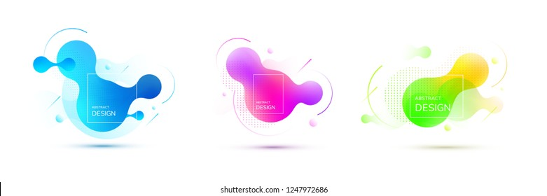 Abstract geometric shapes. Liquid gradient banners isolated on white. Fluid vector background.