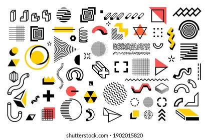 Abstract geometric shapes. Modern line memphis graphic elements. Decorative background with minimal lines and halftone figures. Composition of outline hatching forms or dots. Simple contour vector set