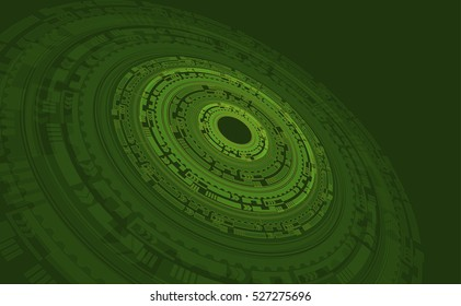 abstract geometric shapes in perspective on a green background