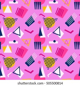 Abstract geometric shapes  seamless pattern. Retro 80's, 90's Memphis style