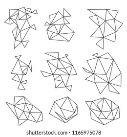 Abstract Geometric Shapes Set Triangle polygon icon symbols for design and decoration