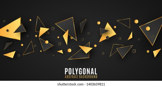 Abstract geometric shapes. Stylish background for your design. Modern low poly style. Chaotic forms. Black and gold triangles. Polygonal random shapes. Vector illustration EPS 10