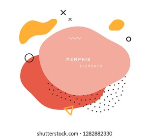 Abstract geometric shapes or texture in memphis style. Retro summer pattern with red, yellow and pink colors. Modern poster design or background composition dots and triangle, free shape form.