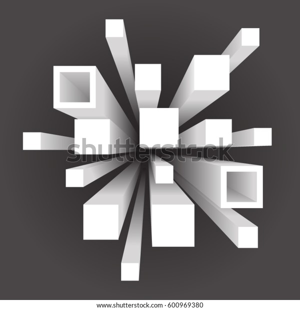 Abstract geometric square movement extension volume background template vector illustration