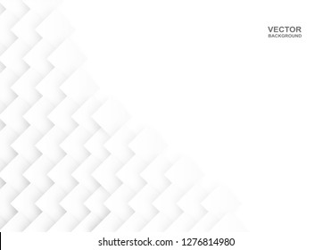 Abstract .Geometric square paper white background ,light and shadow. Vector.