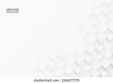 Abstract .Geometric square white background ,light and shadow .Vector