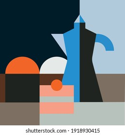 Abstract geometric still life painting vector, pattern