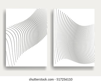 Abstract Geometric Stripe Pattern. Linear background in gray color. Wavy Vector lines