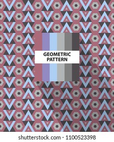 Abstract geometric striped pattern with colorful rhombus and color palette