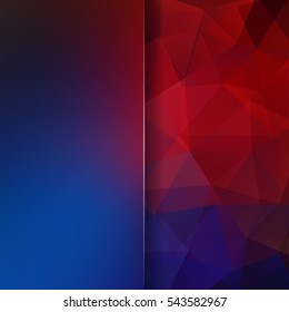 Abstract geometric style dark background.  Blur background with glass. Vector illustration. Blue, red colors.