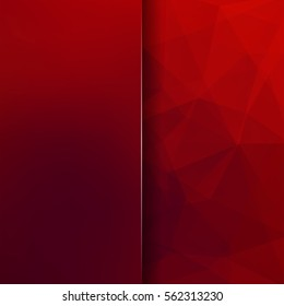 Abstract geometric style red background.  Blur background with glass. Vector illustration.