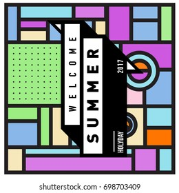 Abstract Geometric Summer poster and banner. Fashion and Travel discount and Promotion design with retro style. Vector illustration with special holiday offer.