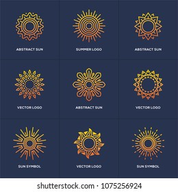 Abstract geometric sun icon set isolated on blue background. Summer vacations, holidays or resort symbol. Travel agency logo in a shape of circle.
