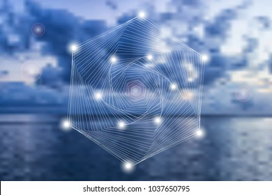 Abstract geometric symbol on blurred natural background. Sacred geometry, occult, spirituality concept.
