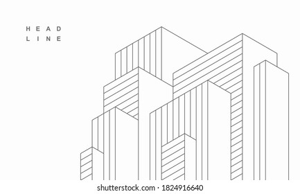 Abstract geometric technological architecture  background. Vector creative design.