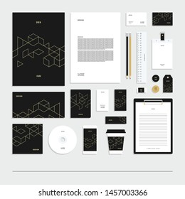 Abstract geometric technological corporate identity, stationery set.
