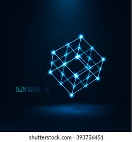 Abstract geometric technology shape of glowing particles . Neon luminous lines . Cube wireframe in perspective . Futuristic background . Vector digital 3d illustrations