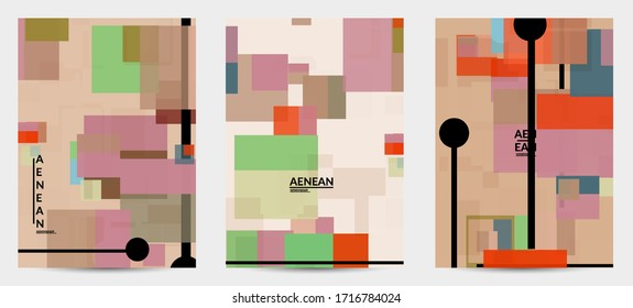 Abstract geometric texture. Mid century modern  design with geometric shapes transparent and overlapping. Retro colors. Flyer template retro geometry vintage style.