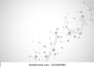 Abstract geometric texture with molecular structures and neural network. Molecules DNA and genetic research. Plexus background. Vector illustration for medical, scientific and technological design