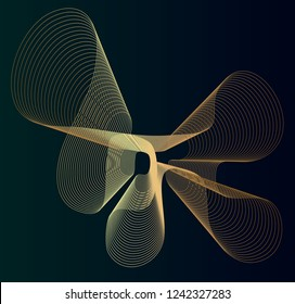 Abstract geometric throbbing shape with golden waveform in lines on dark green background