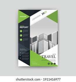 Abstract geometric travel poster template with green color. Perfect for Brochure, Annual Report, Magazine, Corporate Presentation, Portfolio, Flyer