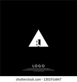 abstract geometric triangle BJ logo letters design concept in shadow shape