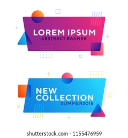 Abstract geometric vector banners in modern memphis design style. Different shapes with vivid gradients: square, circle, triangle. Copyspace for your text. Ready to use in web design or advertisement.