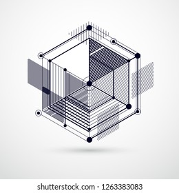 Abstract geometric vector black and white background with cubes and other elements. Composition of cubes, hexagons, squares, rectangles and abstract elements. Perfect background for your designs
