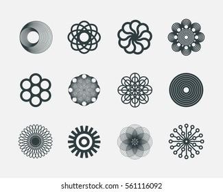 Abstract geometric vector circle logos