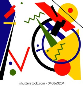 abstract geometric vector colorful background. in style suprematism art