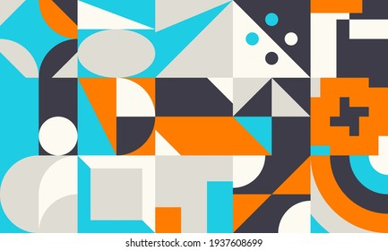 Abstract geometric vector pattern made with simple shapes and bright and vivid colors. Geometrical composition, useful for web design, business card, invitation, poster, textile print, background.